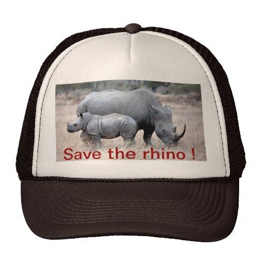 Ahorre el gorra del rinoceronte