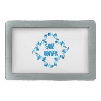 Ahorre el gráfico del agua con las gotitas de agua hebilla de cinturón rectangular
