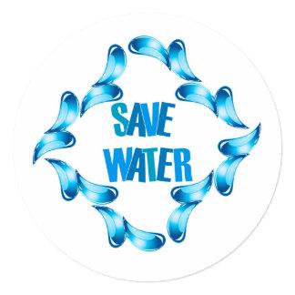 """Ahorre el gráfico del agua con las gotitas de agua invitación 5.25"""" x 5.25"""""""