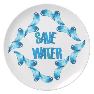 Ahorre el gráfico del agua con las gotitas de agua plato