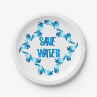 Ahorre el gráfico del agua con las gotitas de agua platos de papel
