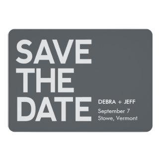 Ahorre el gris moderno de la fecha invitación 12,7 x 17,8 cm