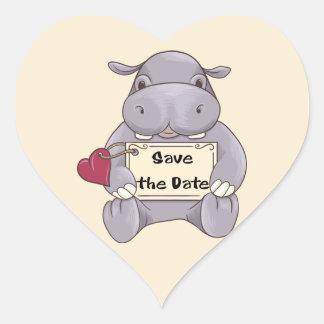 Ahorre el hipopótamo de la fecha calcomania corazon