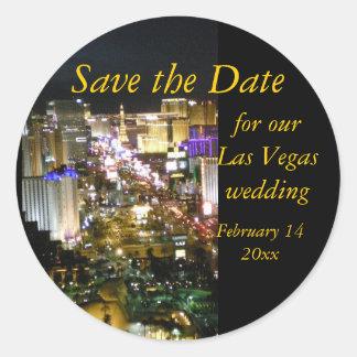 Ahorre el horizonte de Las Vegas de la fecha Etiquetas Redondas