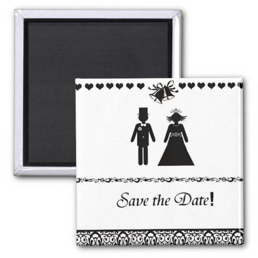 Ahorre el imán del boda de la fecha en B&W