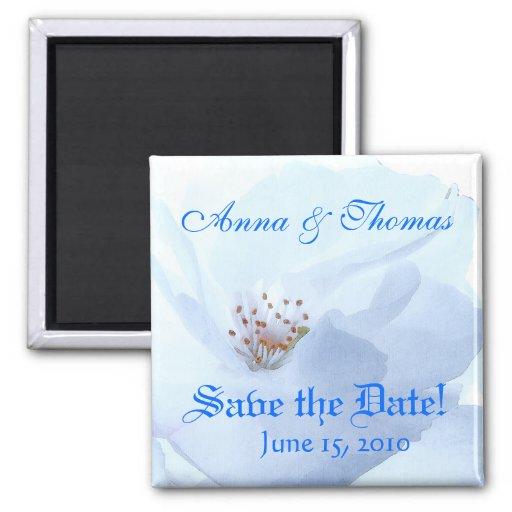 Ahorre el imán floral blanco de la fecha