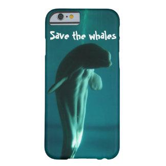 Ahorre el iphone de las ballenas seis cajas del funda de iPhone 6 barely there
