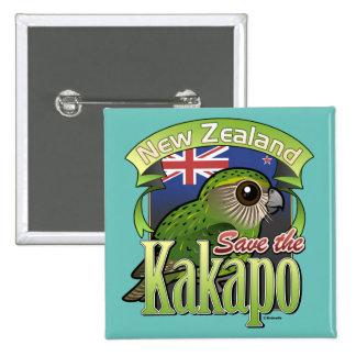 Ahorre el Kakapo de Nueva Zelanda Pin Cuadrado