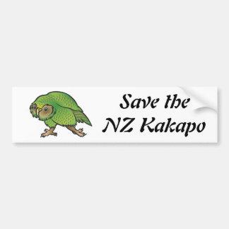 Ahorre el Kakapo de NZ - pegatina para el parachoq Pegatina De Parachoque