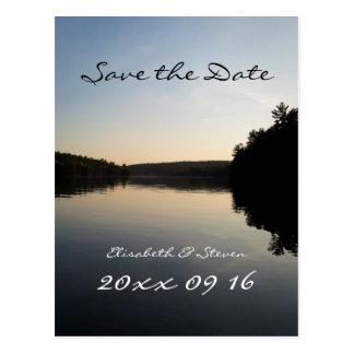 Ahorre el lago postcard del boda de la fecha en la tarjetas postales