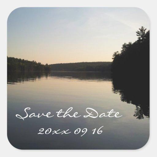 Ahorre el lago sticker del boda de la fecha en la  calcomanía cuadrada