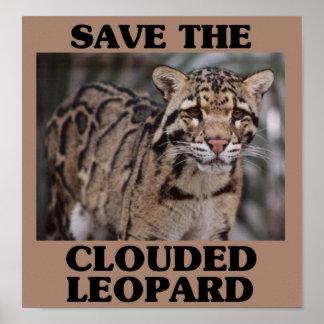 Ahorre el leopardo nublado póster