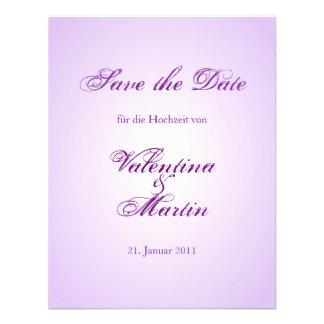 Ahorre el lila Kalligraphie de Karte de la fecha Invitaciones Personales