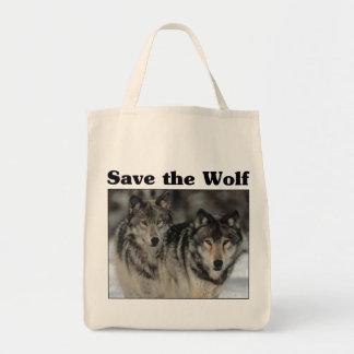 Ahorre el lobo bolsa tela para la compra