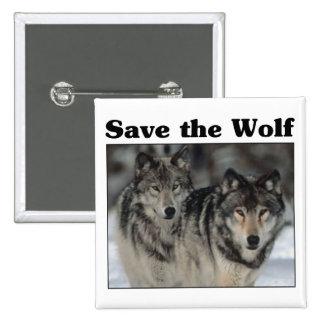 Ahorre el lobo pin cuadrado
