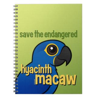 Ahorre el Macaw en peligro del jacinto Libreta Espiral