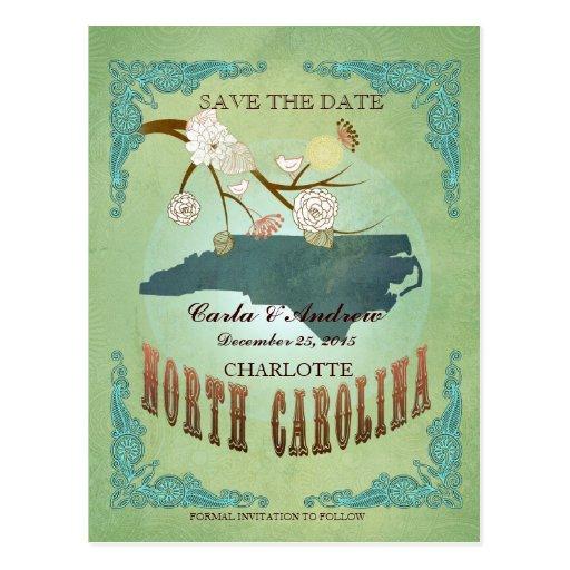 Ahorre el mapa de Carolina del Norte de la fecha Tarjeta Postal
