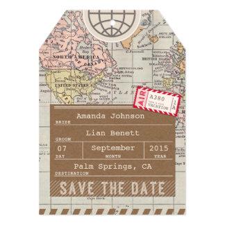 """Ahorre el mapa del mundo de la etiqueta del invitación 5"""" x 7"""""""