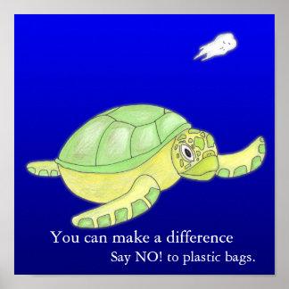 ¡Ahorre el mar, diga NO! a las bolsas de plástico Póster
