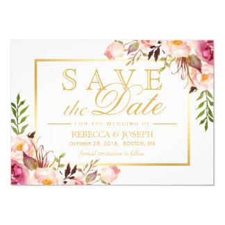 """Ahorre el marco floral rosado elegante elegante invitación 5"""" x 7"""""""