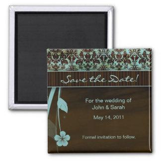 Ahorre el marrón azul del damasco floral del imán