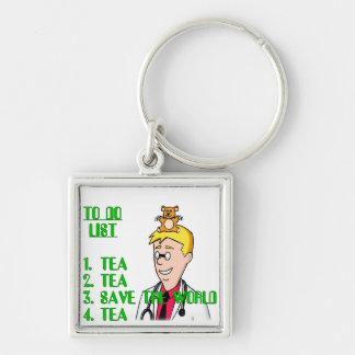 Ahorre el mundo con té para hacer la lista llavero cuadrado plateado