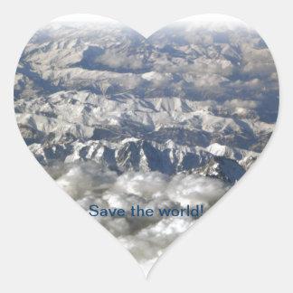 ¡Ahorre el mundo! Pegatina En Forma De Corazón