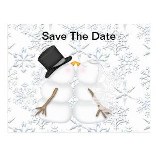 Ahorre el muñeco de nieve de la NOVIA y del NOVIO Tarjetas Postales