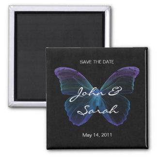 Ahorre el negro azul púrpura de la mariposa del imán cuadrado