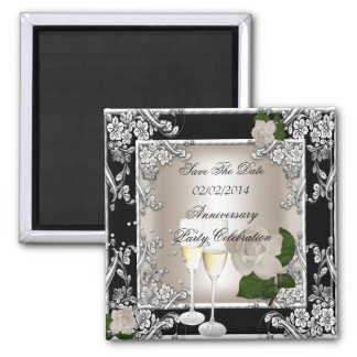 Ahorre el negro de la crema del boda del aniversar imán de frigorífico