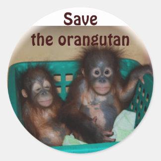 Ahorre el orangután pegatina redonda