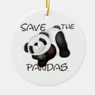 Ahorre el ornamento de las pandas adorno navideño redondo de cerámica