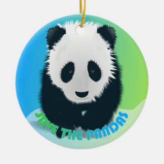 Ahorre el ornamento de las pandas adorno redondo de cerámica