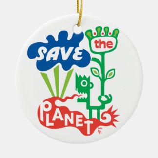 Ahorre el ornamento del planeta adorno navideño redondo de cerámica