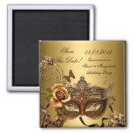 Ahorre el oro de la mascarada del dulce 16 de Quin Imán Cuadrado