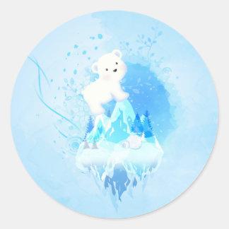 ¡Ahorre el oso polar! Etiqueta Redonda