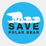 Ahorre el oso polar pegatinas redondas