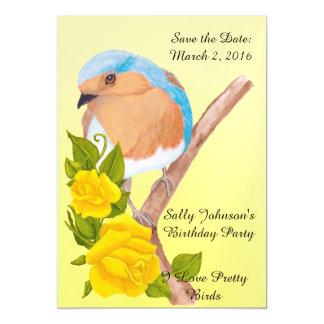 Ahorre el pájaro bonito de la fecha y los rosas invitaciones magnéticas