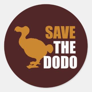 ¡Ahorre el pájaro del Dodo! Pegatina Redonda