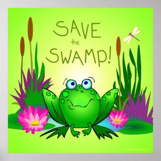 Ahorre el pantano nervioso el verde de las libélul poster