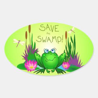 Ahorre el pantano nervioso la rana colcomanias oval personalizadas