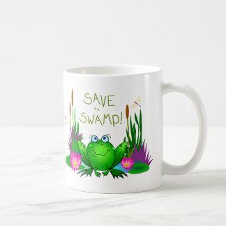 Ahorre el pantano nervioso la rana taza