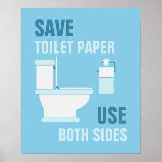 Ahorre el papel higiénico utilice el poster de am