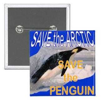 Ahorre el pingüino pin cuadrada 5 cm