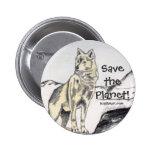 ¡Ahorre el planeta! Botón del lobo Pins