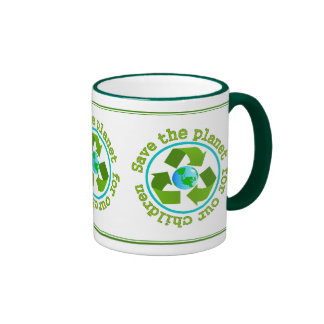 Ahorre el planeta para nuestros niños taza de café