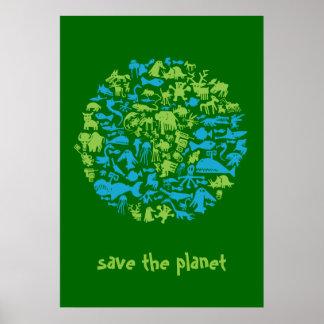 Ahorre el planeta póster
