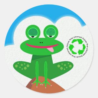 Ahorre el planeta: Recicle a los pegatinas Etiqueta Redonda