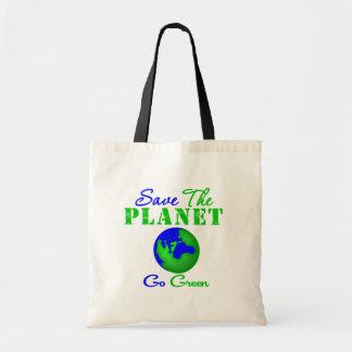 Ahorre el planeta van verde bolsa de mano