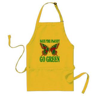 Ahorre el planeta van verde delantal